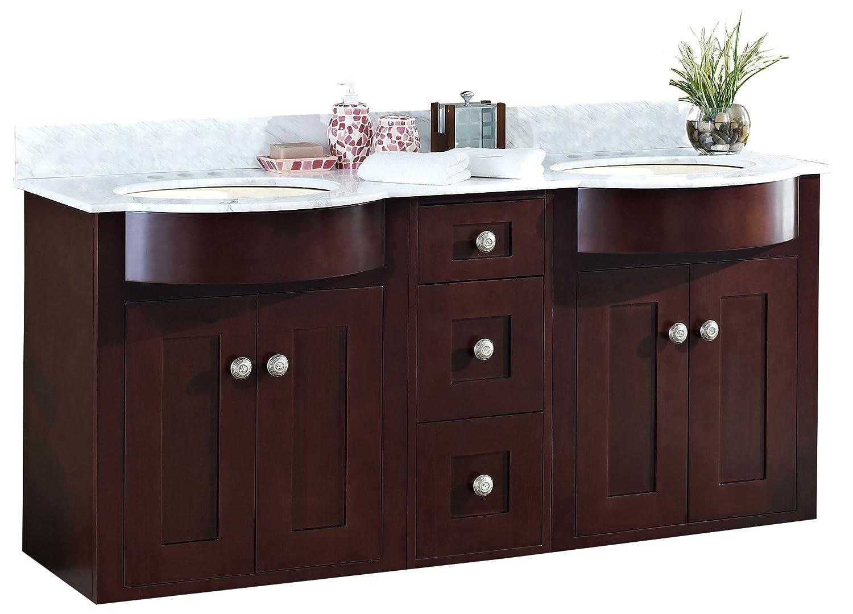 """hot sale Jade Bath JB-18491 60"""" W x 22"""" D Birch Wood-Veneer Vanity Set, Coffee"""