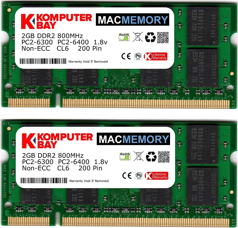 Komputerbay MACMEMORY Apple 4GB Kit (2X 2GB Modules) PC2-6300 800MHz DDR2 SODIMM iMac and MacBook Memory