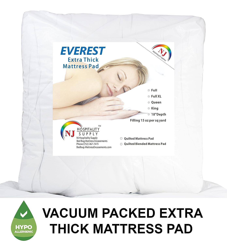 Amazon.com: Everest Premium Plus Mattress Pad HypoallergenicQuilted Mattress  Topper, Deep Pocket, Stretch to Fit, Microfiber,Extra Plush (Compressed ...
