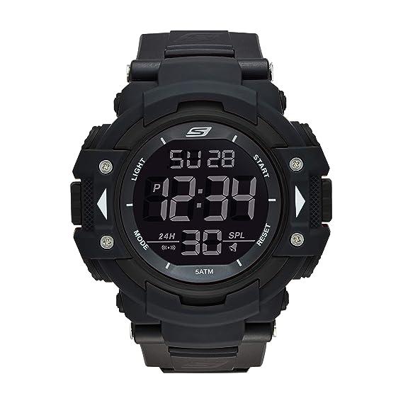 Amazon.com: Skechers Mens Keats Quartz Plastic and Nylon Digital Watch Color: Black, Silver (Model: SR1037): Watches
