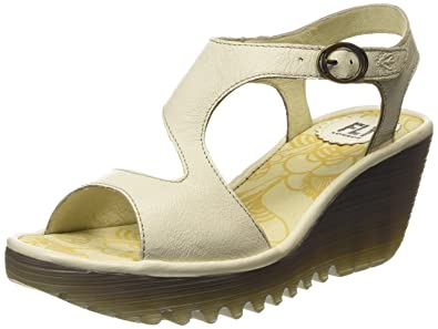 da3a9ea84f7 FLY London Womens Yanca Mousse Leather Open Toe Shoes Wedge Heel Sandals -  Mousse Off White