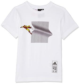 Adidas Iron Man (Manga Corta Camiseta, otoño/Invierno, Iron Man, Niños, Color Blanco, tamaño 164: Amazon.es: Deportes y aire libre