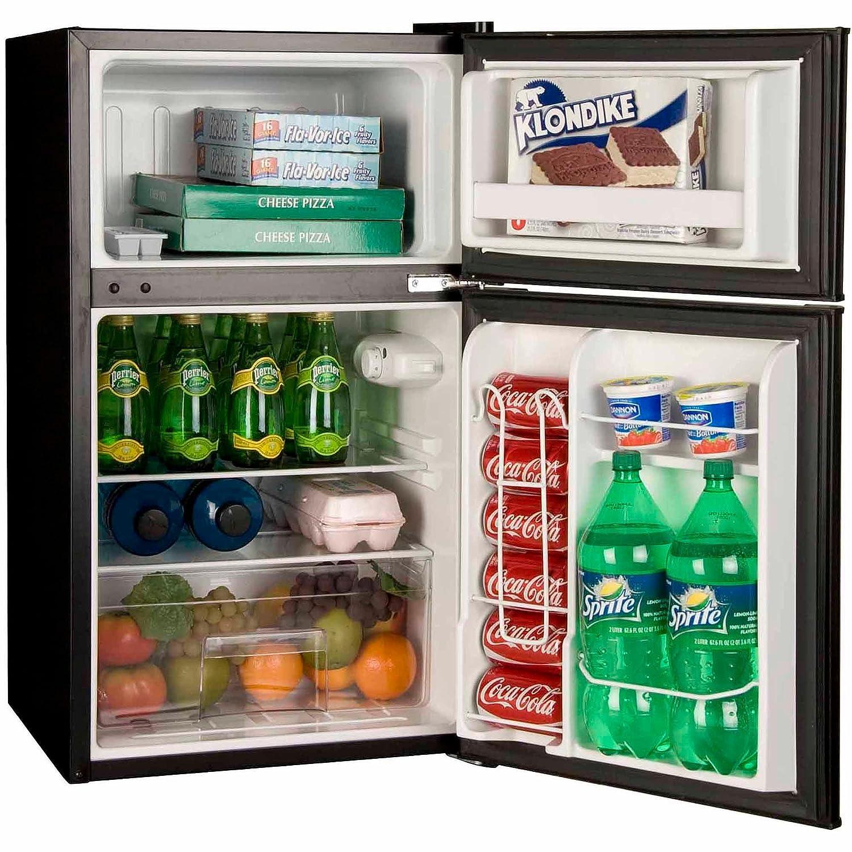 Superior 3.2 Cubic Feet 2 Door True Freezer Compartment, Refrigerator, Black      Amazon.com