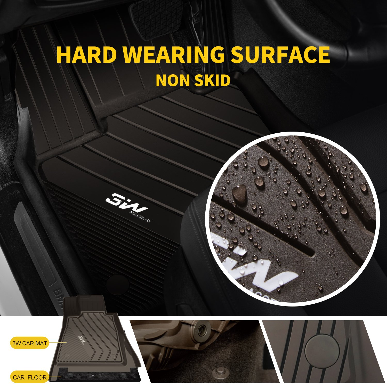 3W Floor Mats for BMW 3 Series F30/F31 (2013-2018) Rear Wheel Drive Only  All Weather Heavy Duty Auto Floor Liners Custom Fit Floor Mats Liner  Carpet,