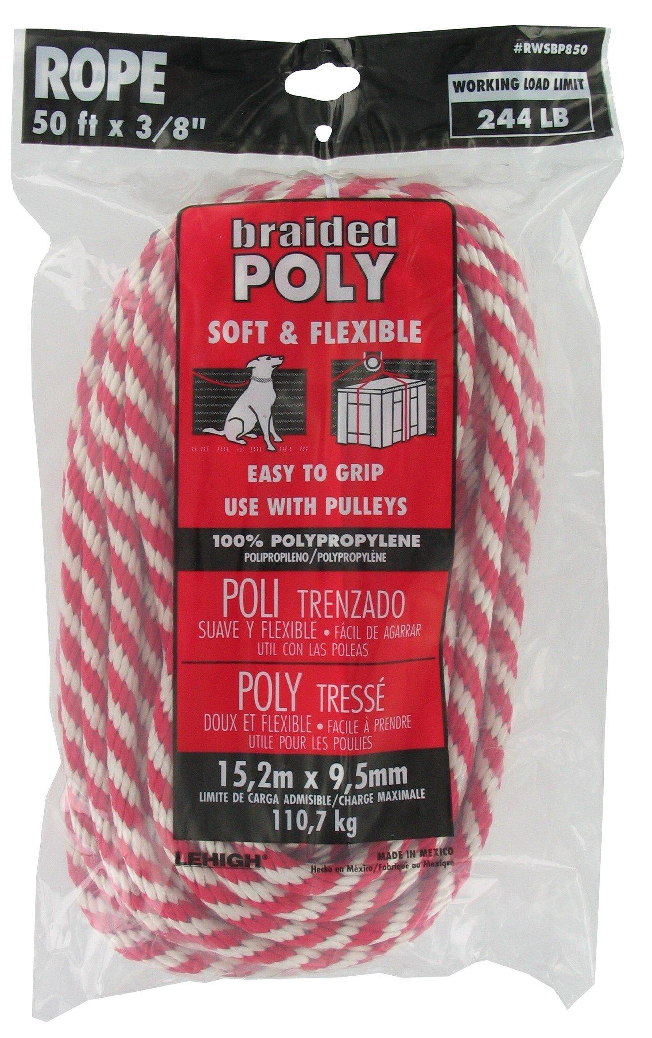 Lehigh Group RWSBP850W Polypropylene Solid Braid Derby Rope, 3/8'' x 50', Red/White