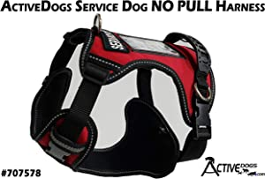 Activedogs No Pull Service Dog Harness - Red - Front D-Ring -Quick Release - Clear ID Pocket Window - Molded Handle for Easy Grab