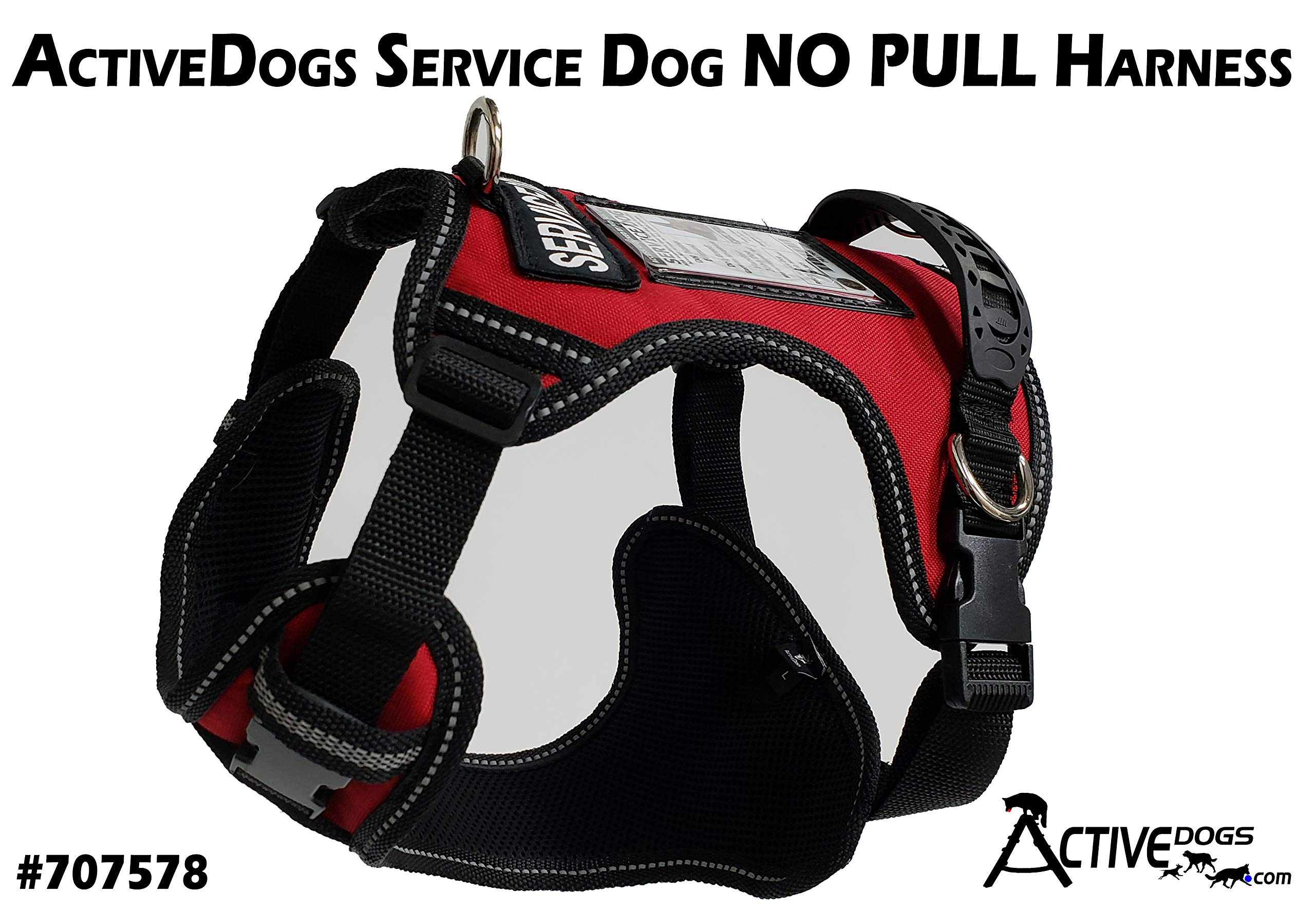 Activedogs No Pull Service Dog Harness - Front Range Quick Release (XL, Red)
