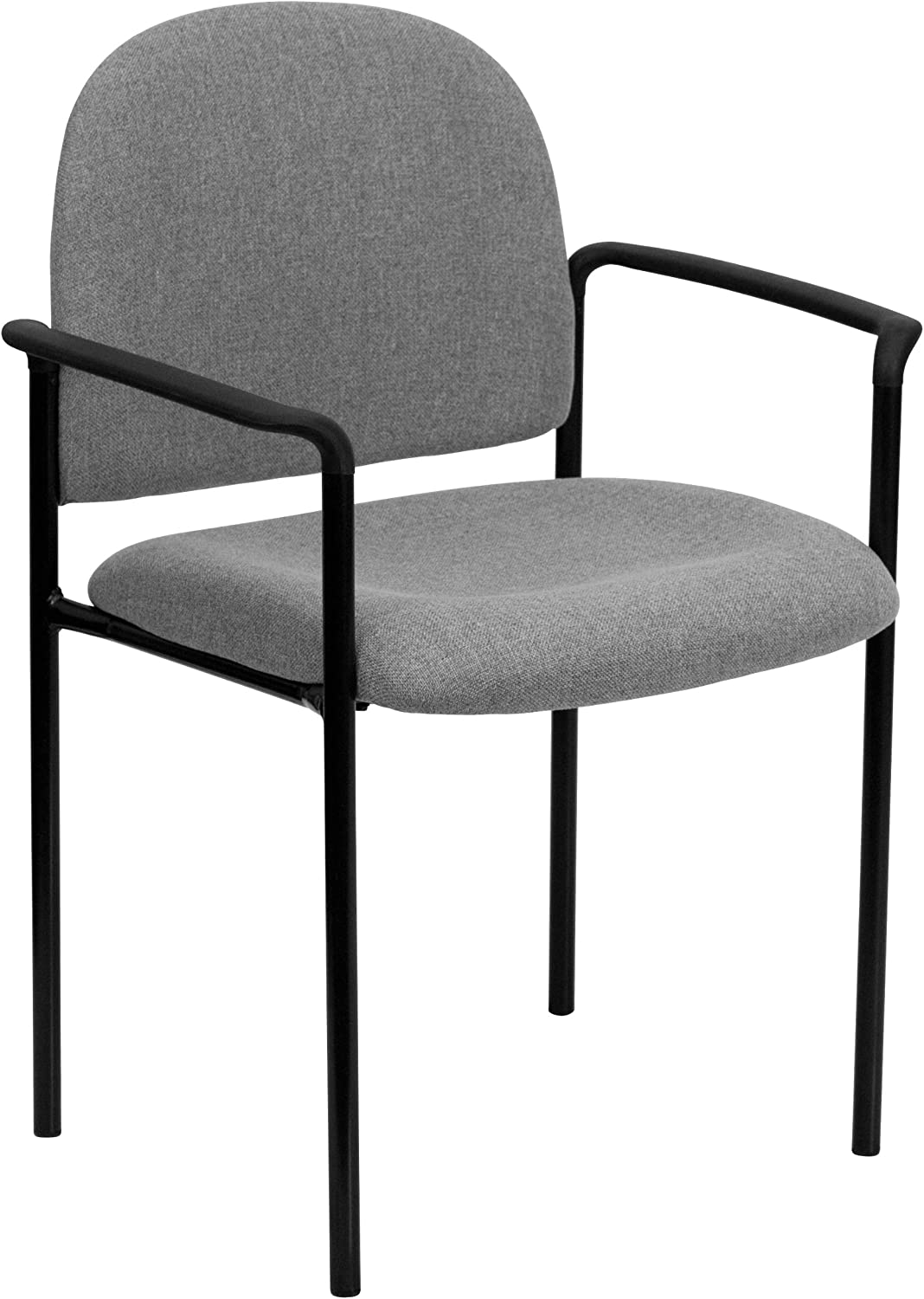 Flash Furniture Comfort Gray Fabric Stackable Steel Side Reception Chair with Arms