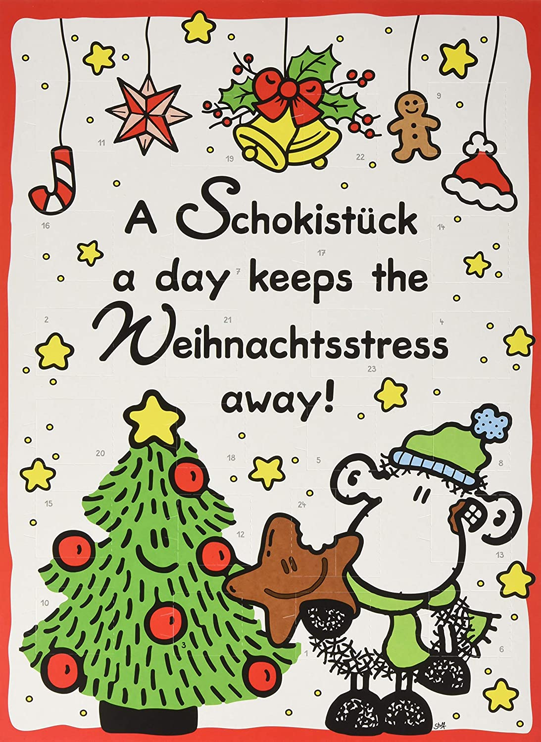 Frohe Weihnachten Sheepworld.Sheepworld 49752 Adventskalender A Schokistück A Day Keeps The Weihnachtsstress Away 1er Pack 1 X 75 G