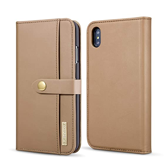 reputable site d9916 41934 iPhone Xs Max Case,FM.HGQ iPhone X Max Wallet Case Detachable Slim Case -  [Folio Style] Genuine Leather Wallet case ID&Card Holder Slot Apple iPhone  ...