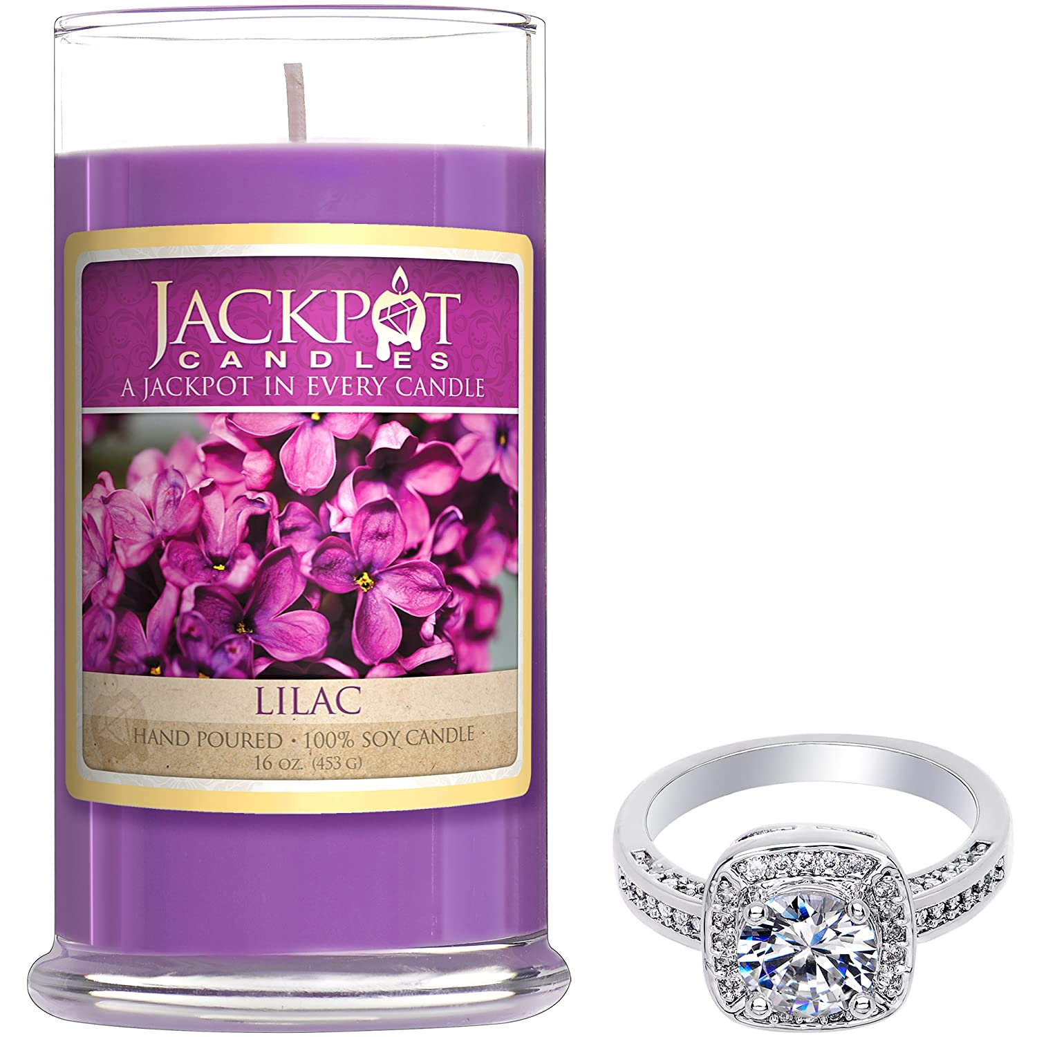 Warm Apple Pie Candle with Ring Inside (Surprise Jewelry Valued at $15 to $5, 000) Ring Size 6 Jackpot Candles CAN-300-RNG-6