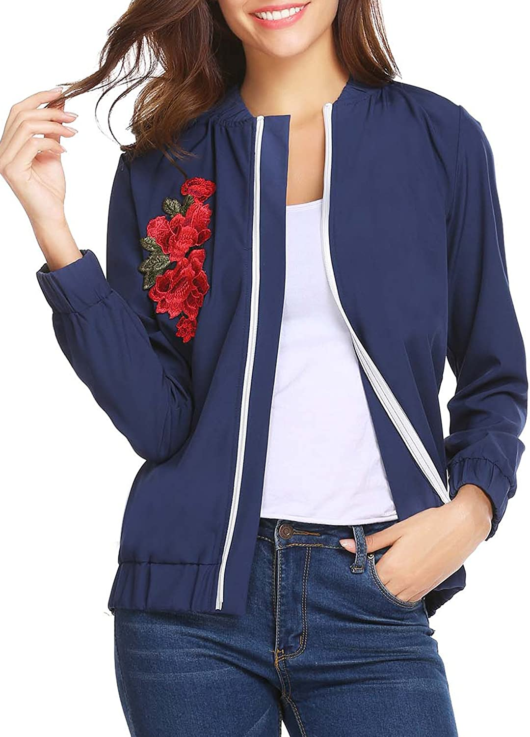 Elover Womens Classic Quilted Jacket Embroidered Zip Up Short Bomber Jacket Coat