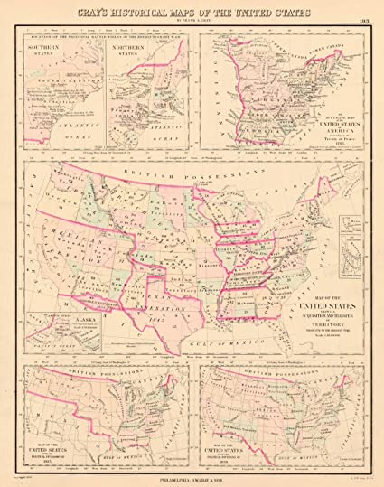 Amazon.com: Historic Map | 1883 Gray\'s Historical Maps of the United ...