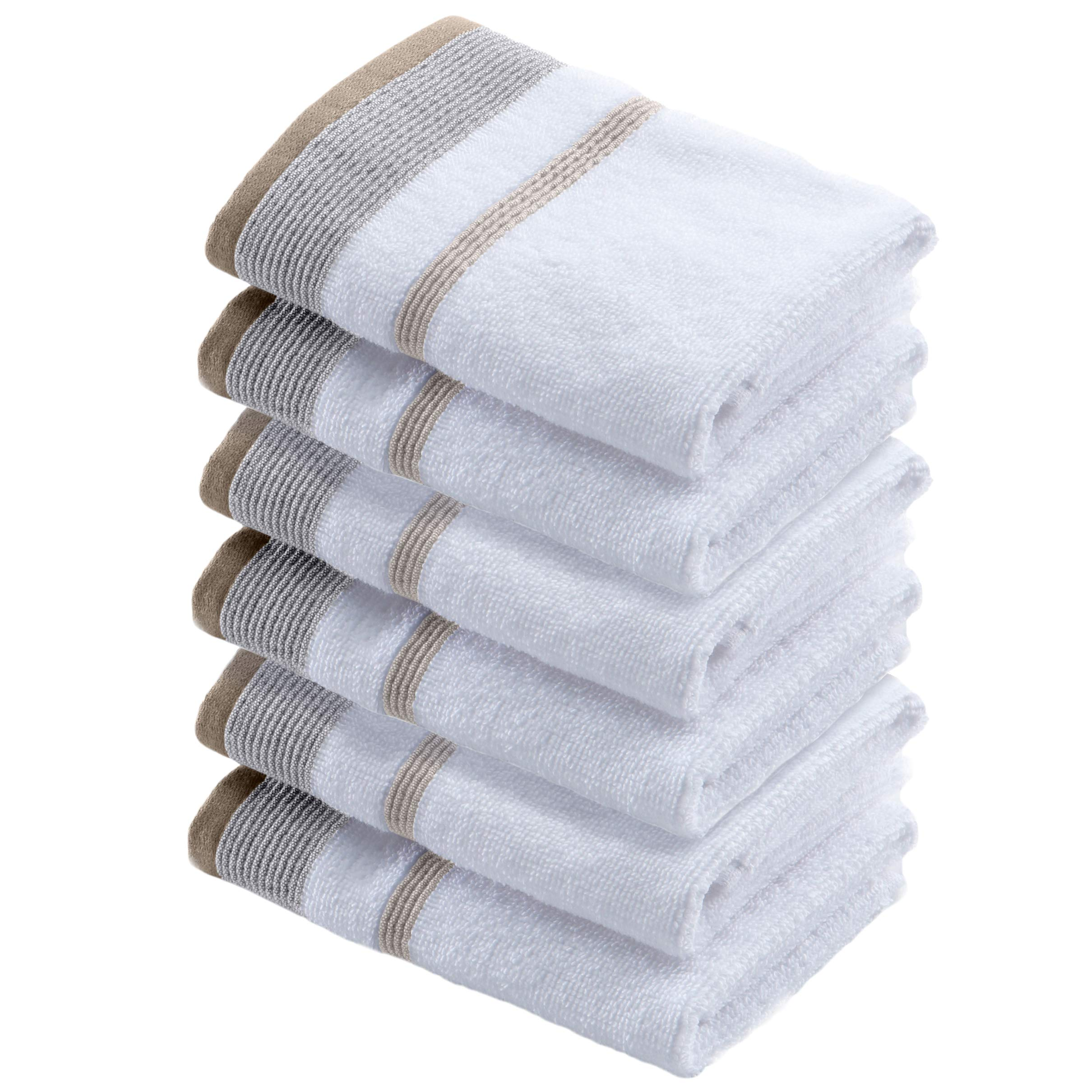Great Bay Home 6-Pack Luxury Hotel/Spa 100% Turkish Cotton Striped Washcloths, 500 GSM. Includes 6 Washcloths. Noelle Collection Brand. (Washcloths (6X), Glacier Grey/Cappuccino)