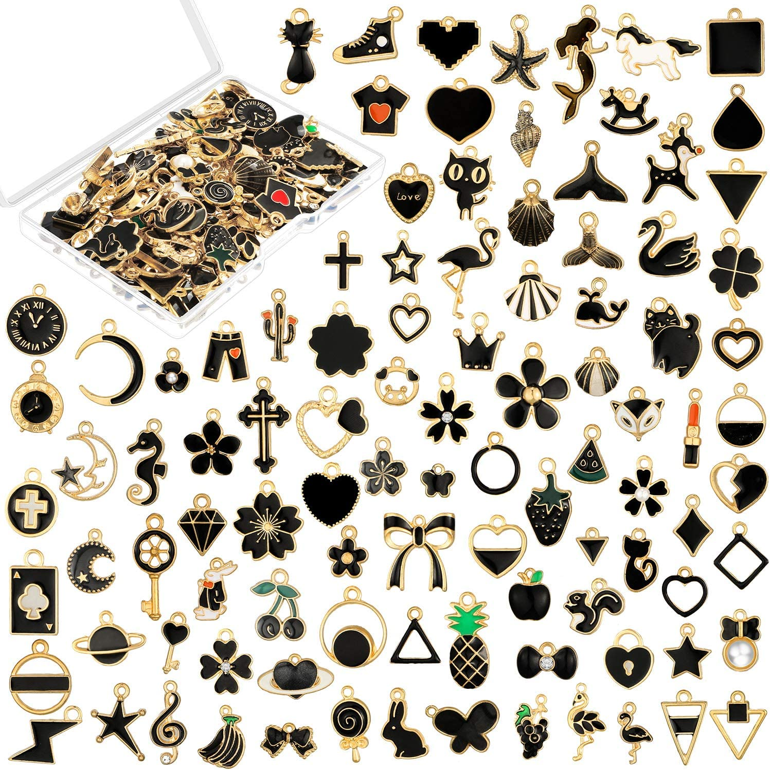 100 Pieces Black Assorted Enamel Pendants Gold Plated Dangle Charms Black Theme DIY Charms Animal Moon Fruit Star Pendant for Necklace Bracelet Jewelry Making Supplies