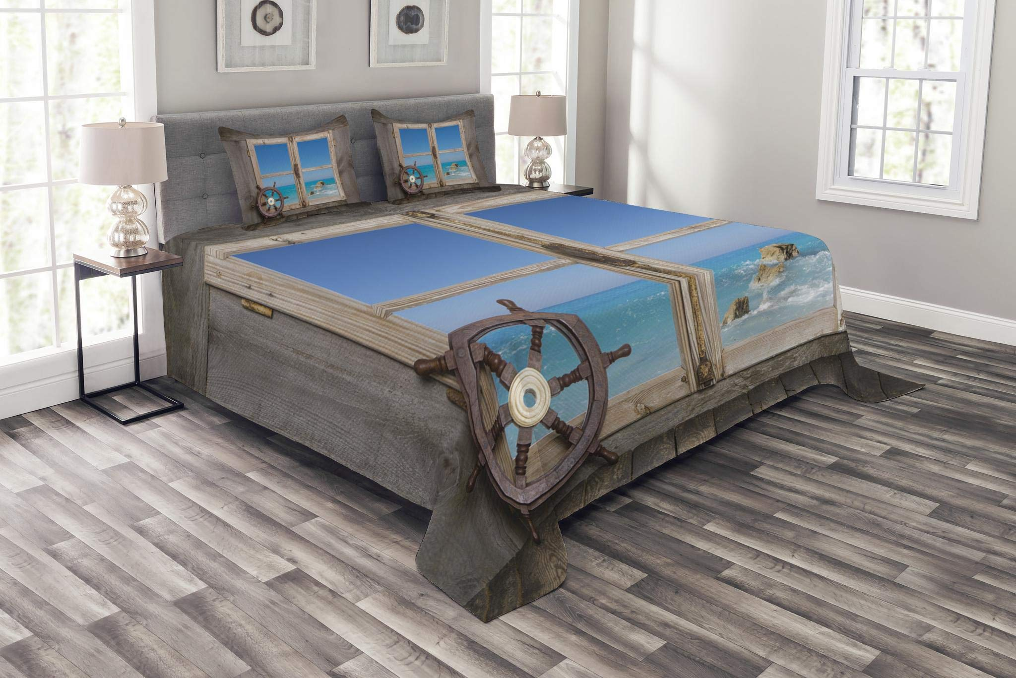 Lunarable Holiday Bedspread Set King Size, View Through Wooden Window with Seascape Ocean Holiday Steering Wheel Maritime, Decorative Quilted 3 Piece Coverlet Set with 2 Pillow Shams, Taupe Blue