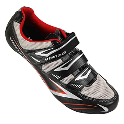 Venzo Bicycle Men's or Women's Road Cycling Riding Shoes - 3 Velcro Straps- Compatible with Peloton Shimano SPD & Look ARC Delta - Perfect for Indoor Spin Road Racing Bikes Black: Sports & Outdoors