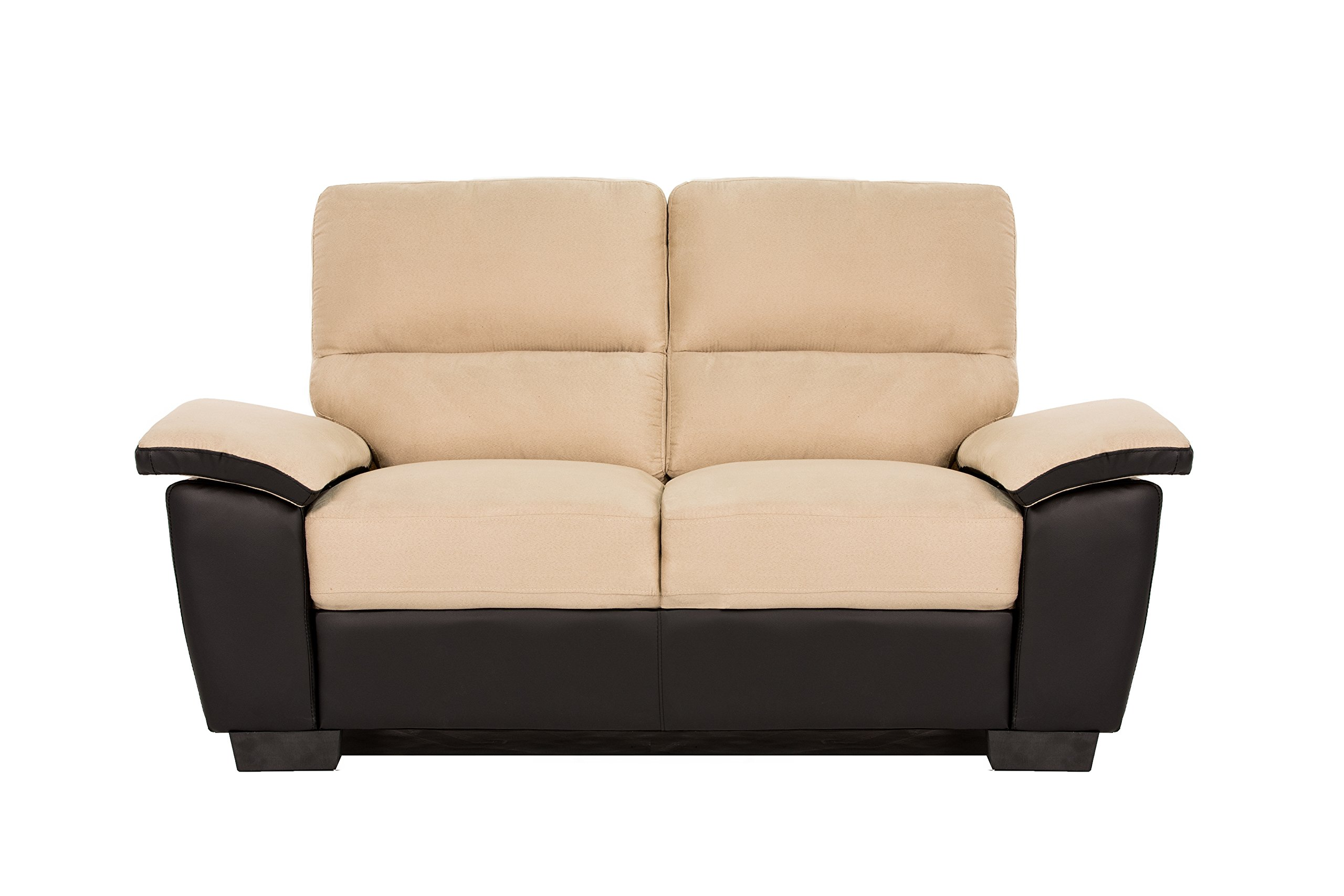 Divano Roma Classic Soft Microfiber and Bonded Leather Living Room Furniture by Madison Home (Image #2)