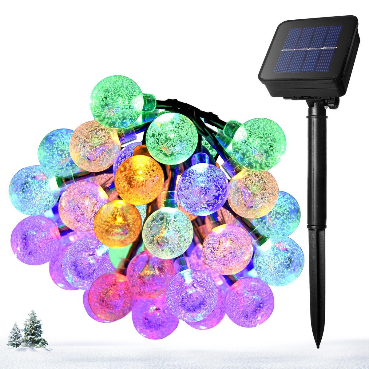 Ankway guirnalda luz solar 8 modos, 5M 30 LED guirnalda luminosa bolas colores, cadena de Luces P65 impermeable para exterior/interior, jardín, patio, valla, árbol, navidad y decoraciones de boda