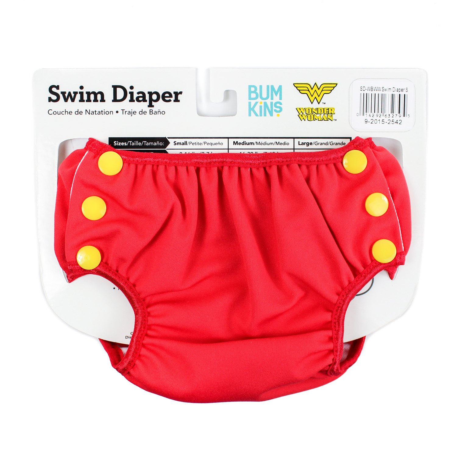 Bumkins DC Comics Reusable Swim Baby Diaper, Wonder Woman Icon, Small