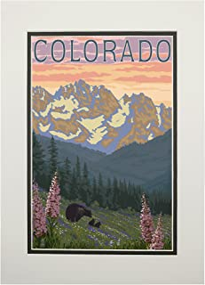 product image for Colorado - Bears and Spring Flowers (11x14 Double-Matted Art Print, Wall Decor Ready to Frame)