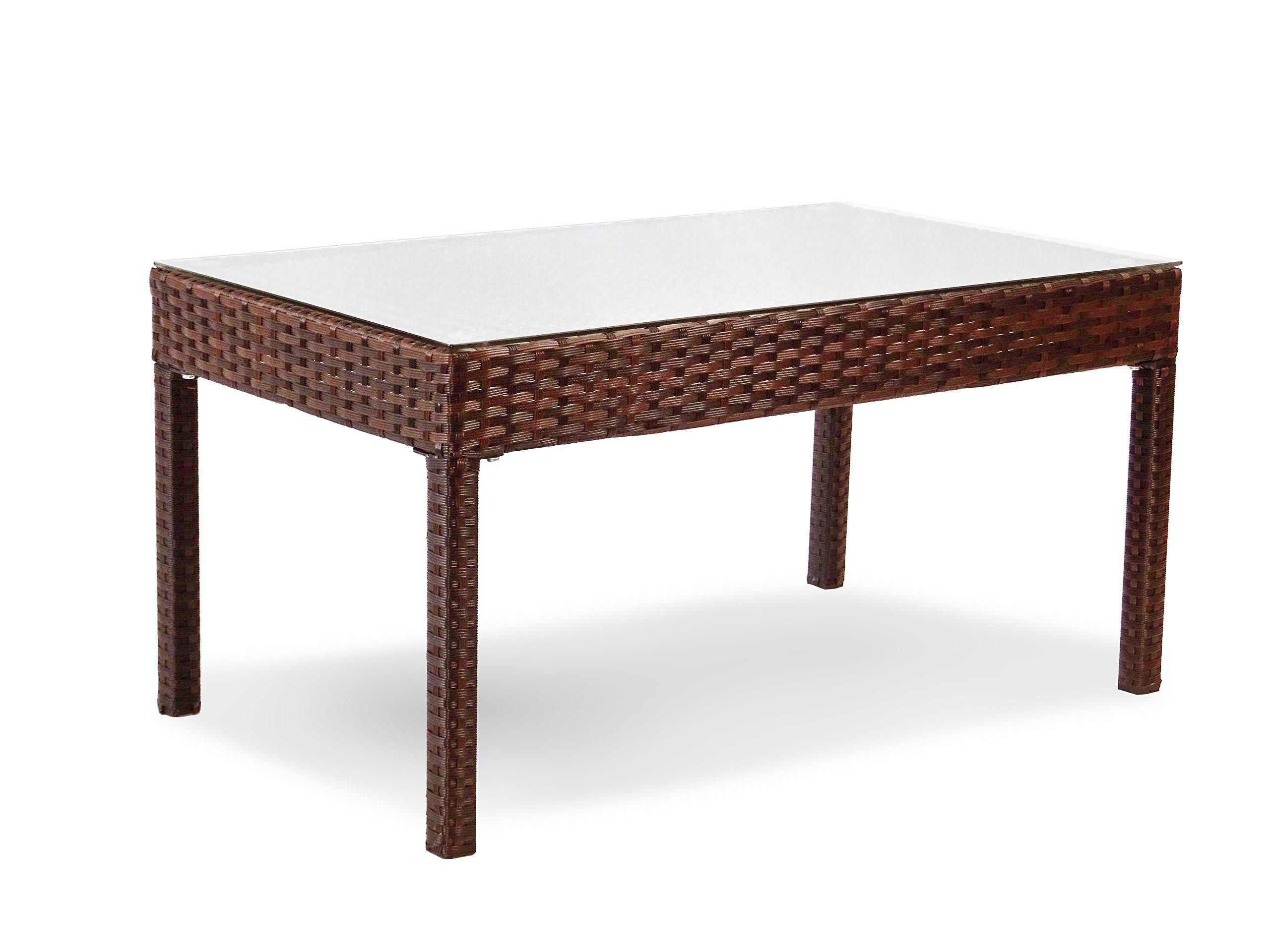 Resin Outdoor Rectangular Coffee Table w/ Glass Garden Yard Patio Wicker, Dark Brown