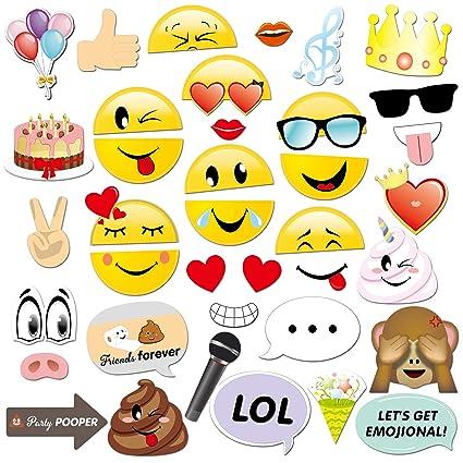 Konsait Emoji Photo Booth Props (38pcs), cumpleaños Cabina de Fotos Accesorios photocall DIY
