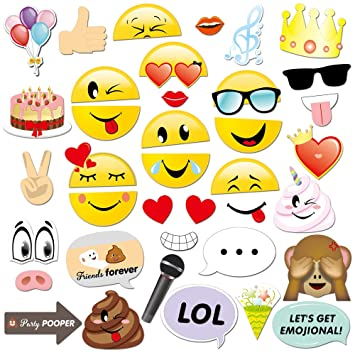 Konsait Emoji Photo Booth Props (38pcs), cumpleaños Cabina de Fotos Accesorios photocall DIY Photo Booth Atrezzo Favorecer para Infantil y Adultos ...
