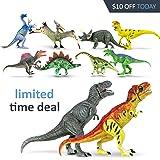 "Athena Futures Dinosaur Toys [18 Items Super Set] Toys Boys Girls Kids - 3, 4, 5, 6 Year Old Age Gift Jurassic Age Park Large Big 2 T Rex, Spinosaurus, Raptor, Egg, Book, Stickers, Playset (6""+)"