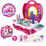SZJJX Kids Toy Make Up Set Case Deluxe Simulation Make Up Kits Box Role Play Pretend Play Toys Plastic Portable Playset with Handy Storage Bag