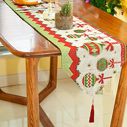 Christmas Table Runner.Christmas Table Runner With Tassels Xmas Table Lines Decorative Christmas Dining Tapestry Holiday Rectangular Table Scarf For Coffee Table