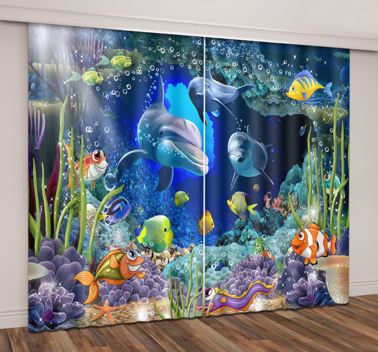 LB Underwater Window Curtains for Bedroom Living Room,Colorful Undersea with Fishes Dolphin Sea Plants Teen Kids Room Darkening Blackout Curtains Drapes 2 Panels,28 by 65 inch Length