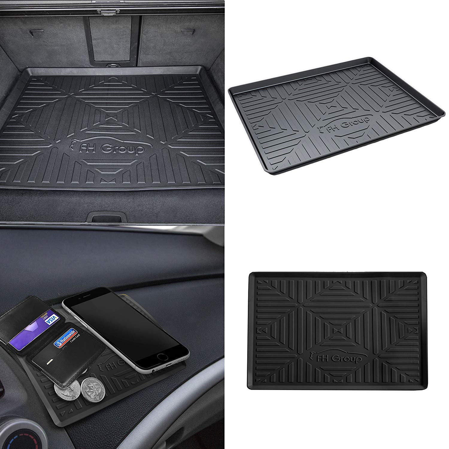 "FH Group F16407 Black 32"" Premium Multi-Use Cargo Tray Liner w. Silicone Anti-Slip Dash Mat"