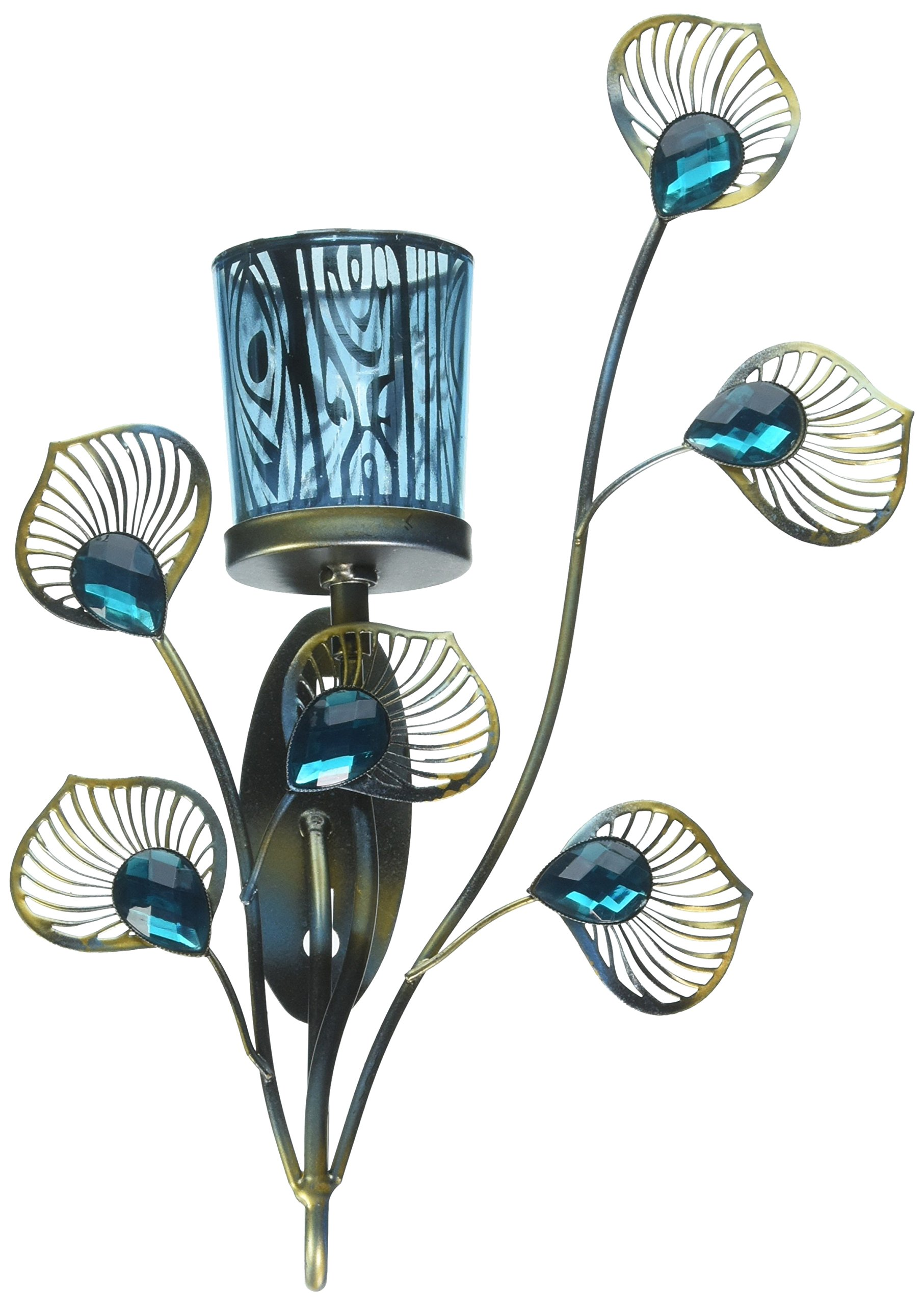 Zings & Thingz 57073536 Peacock Feather Wall Sconce Blue