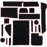 Auto Spec 日産 新型DAYZ デイズ ハイウェイスター B40系 ポケットマット H31~ インテリアラバーマット 車種専用設計 ドアポケットマット フロアマット ゴムマット コンソールマット 内装パーツ アクセサリー 騒音防止 汚れ防止 NISSAN DAYZ専用 滑り止めマット 全18枚 (日産・新型デイズ B40型, レッド)