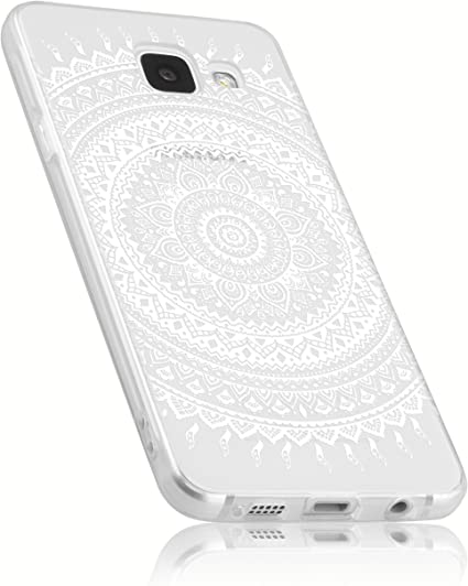 mumbi Coque de protection pour Samsung Galaxy A3 (2016) TPU gel silicone blanc Motif Mandala Griffonnage