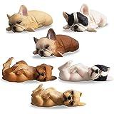 TOYMANY 6PCS Realistic French Bulldog Figurines, Small Solid Lying and Sleepy Dog Figures Toy Set, Christmas Birthday…