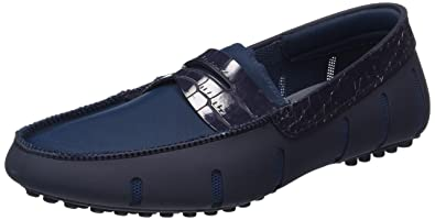 43fe1c69395 Swims Men s Penny Loafer Alligator Mocassins Blue Size  10 UK ...