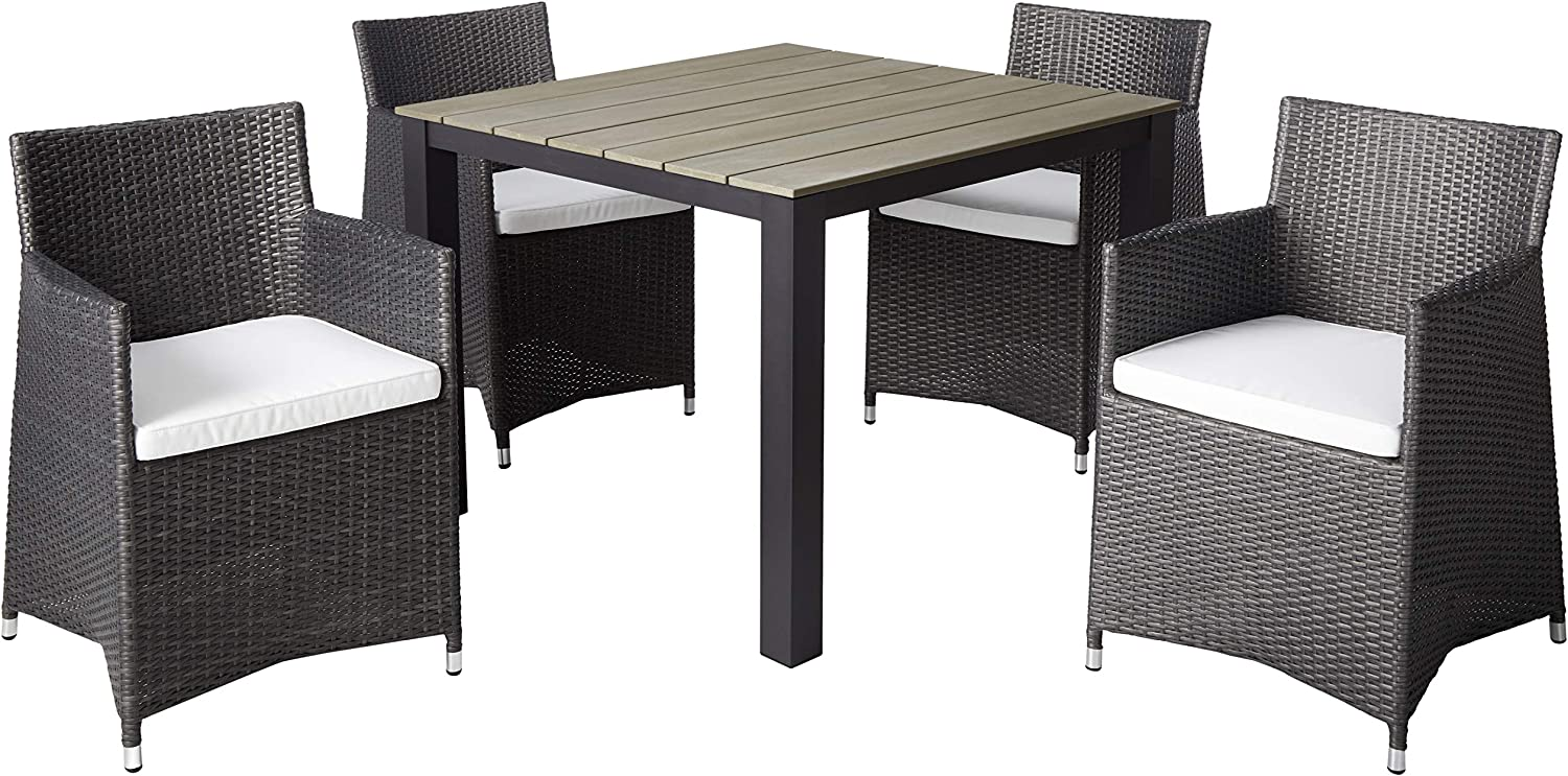 "Modway Junction Wicker Rattan 5-Piece Outdoor Patio Dining Set with 39"" Dining Table and Four Dining Armchairs with Cushions in Brown White"