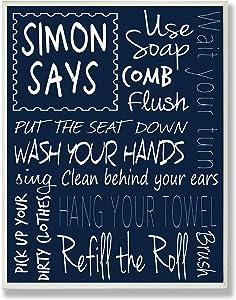 Stupell Industries Simon Says Bath Rules Chalkboard Bathroom Art Wall Plaque, 13 x 19, Design by Artist Regina Nouvel