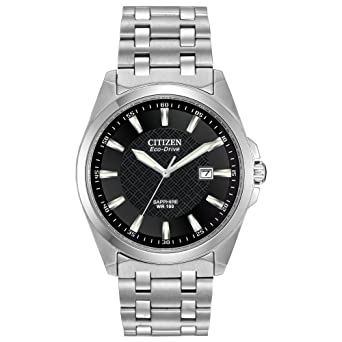 6b77dbee9 Citizen Men's Eco-Drive Stainless Steel Dress Watch with Date, BM7100-59E