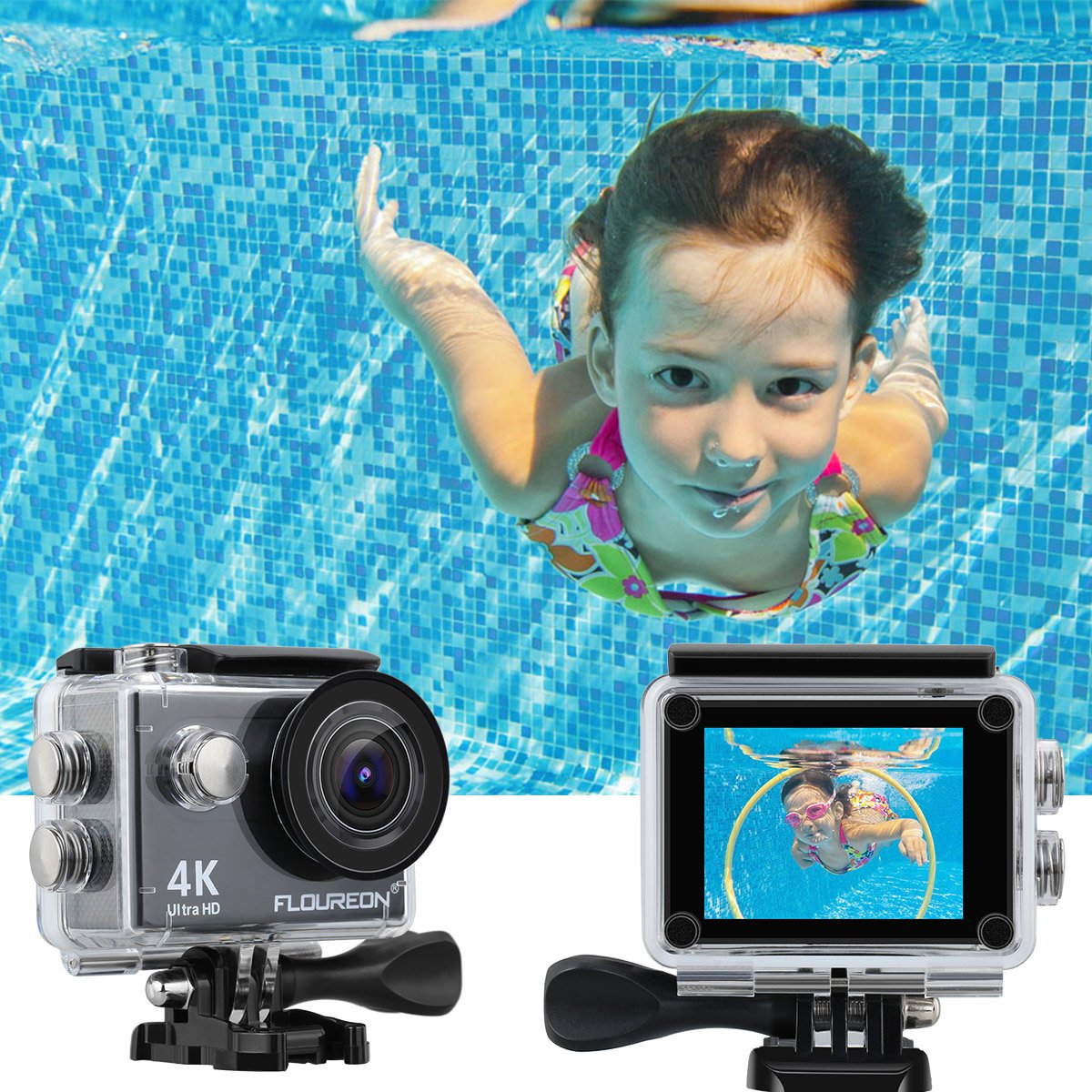 Sports Action Camera FLOUREON 4K Live Streaming Ultra-HD 2\