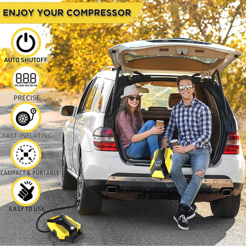 VXDAS Compresor de aire, Portátil 150psi Eléctrico aire Eléctrico Hinchador Bomba de Neumáticos Inflador con luz LED 12V Digital para Moto Coche y ...