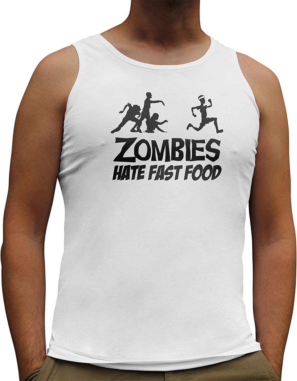 Nutees Mens Zombies Hate Fast Food Running Jogging Funny Tank Top Vest