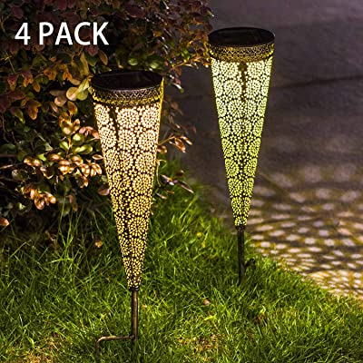 TAKE ME [Set of 4] Solar Pathway Lights Garden Outdoor, Waterproof Metal Decorative Stakes for Walkway, Yard, Lawn, Patio : Garden & Outdoor