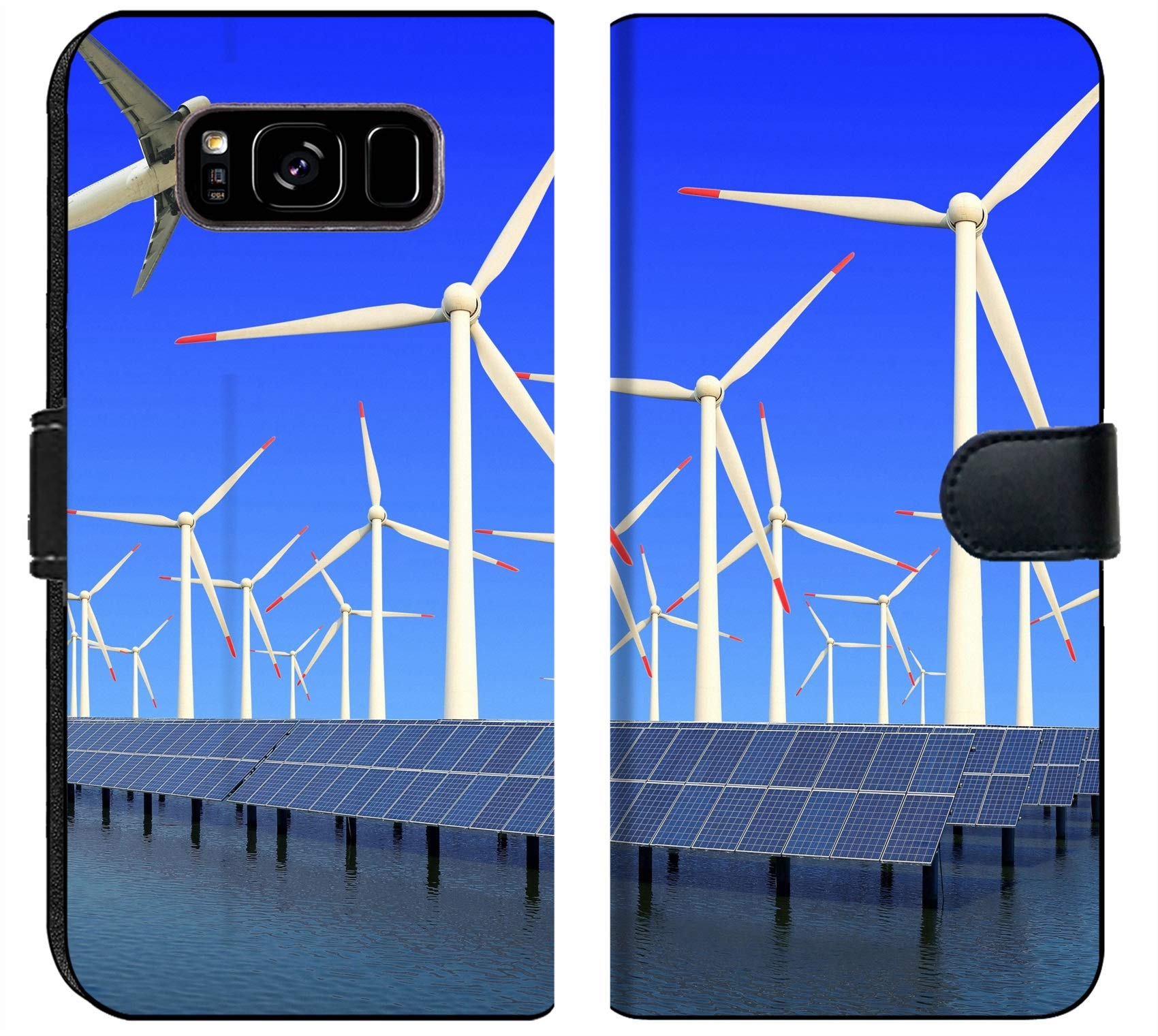 Samsung Galaxy S8 Plus Flip Fabric Wallet Case Image ID 19576484 Aircraft is Flying in eco Power Wind turbines Solar Panel at c