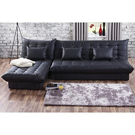 Uk Stock Cravog 3 Seat Faux Leather Corner Sofa Bed With Storage