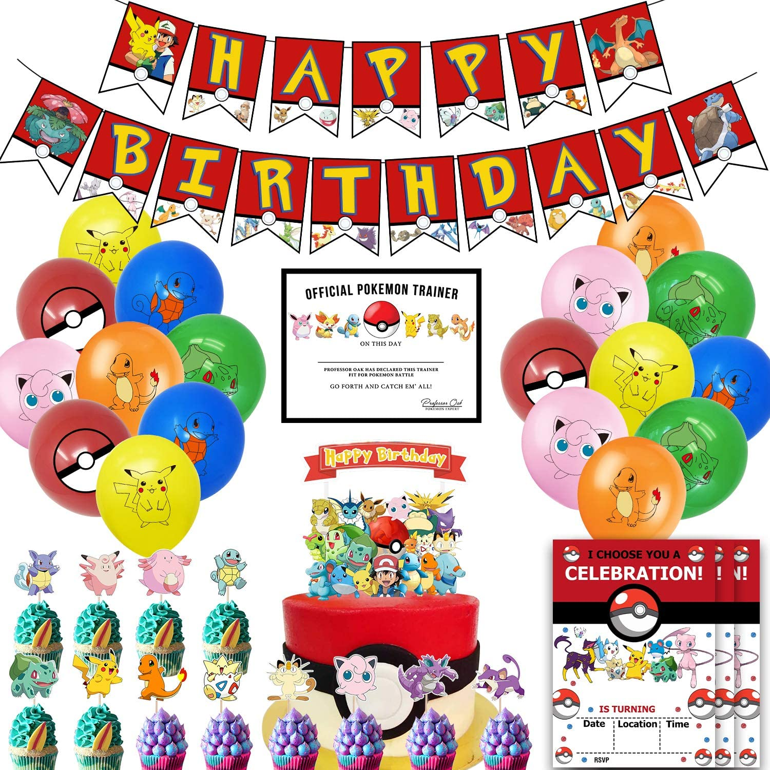 Nelton Birthday Party Supplies Pikachu Includes Banner - Cake Topper - 24 Cupcake Toppers - 18 Balloons - 10 Invitations - 10 Certificates Gift