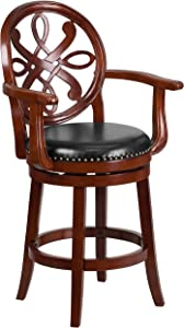 Flash Furniture 26'' High Cherry Wood Counter Height Stool with Arms, Carved Back and Black Leather Swivel Seat