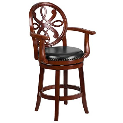 Flash Furniture 26u0027u0027 High Cherry Wood Counter Height Stool With Arms And  Black Leather